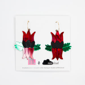 Mintcloud & Little Harlequin Studio Collaboration Earrings - Sturt's Desert Pea Dangles