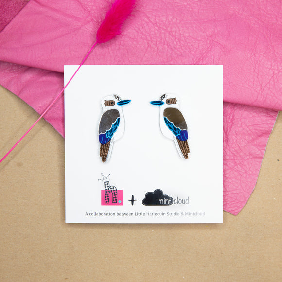 Mintcloud & Little Harlequin Studio Collaboration Earrings - Kevin The Kookaburra Studs