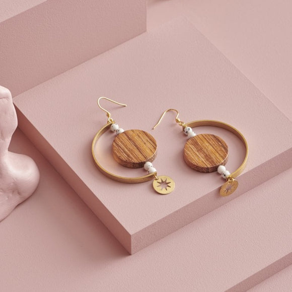Middle Child handmade dangle earrings timber and brass from have you met charlie? a unique gift store in adelaide south australia