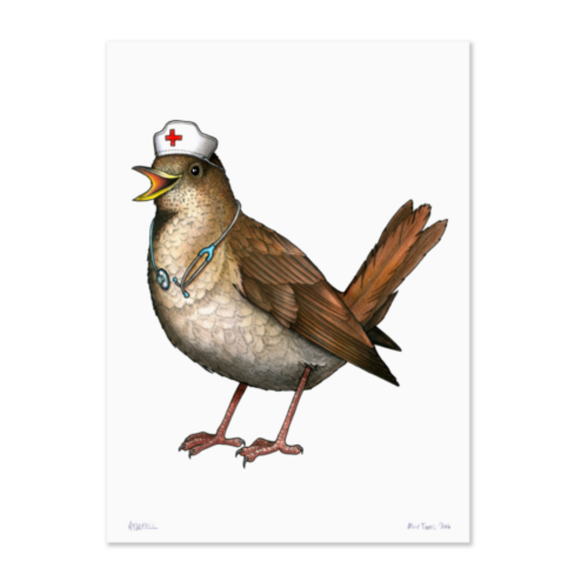 Birds In Hats Print - Nightingale in a Nurse's Cap A4