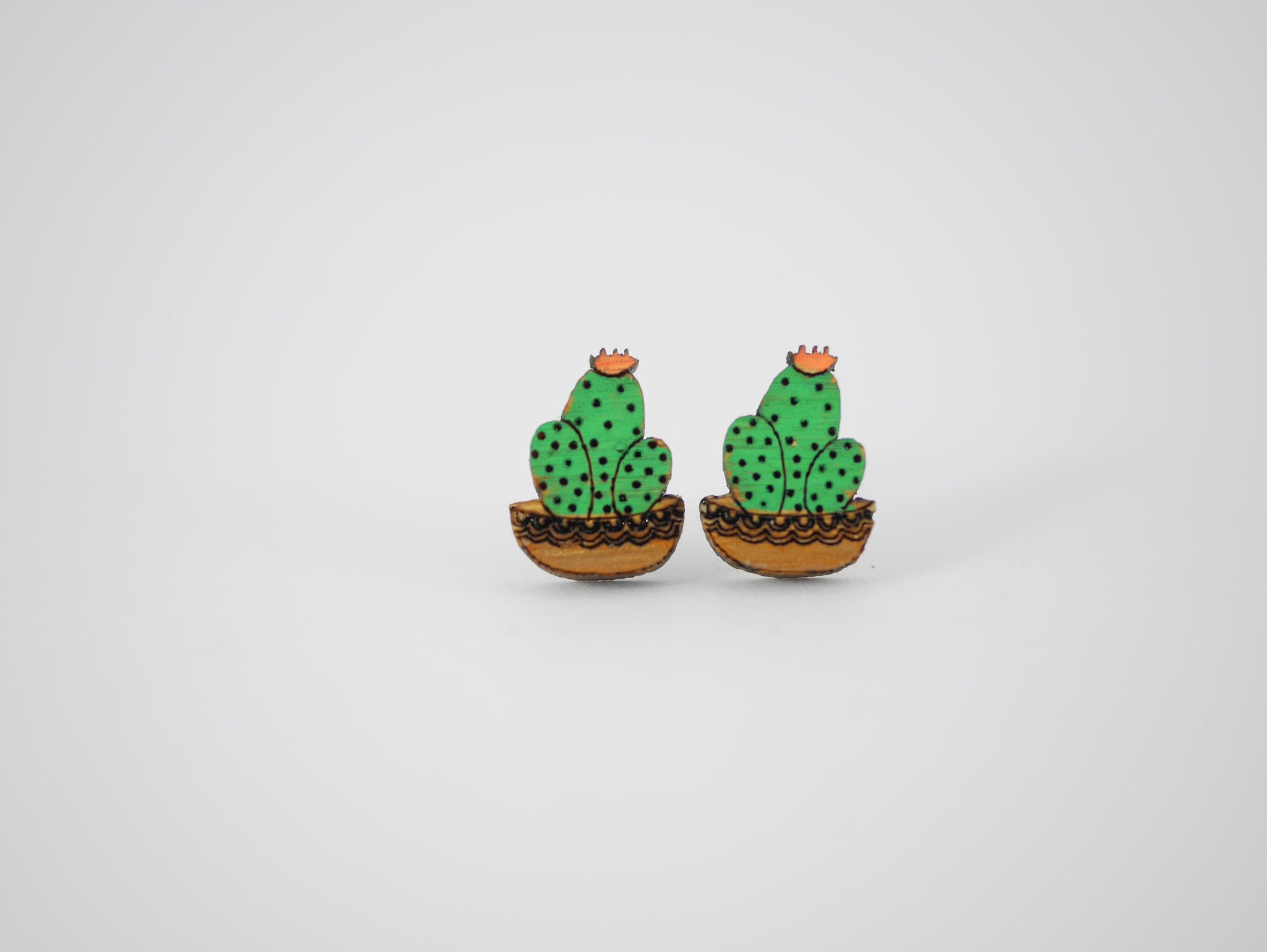Potted Cacti Trio Bamboo Earrings