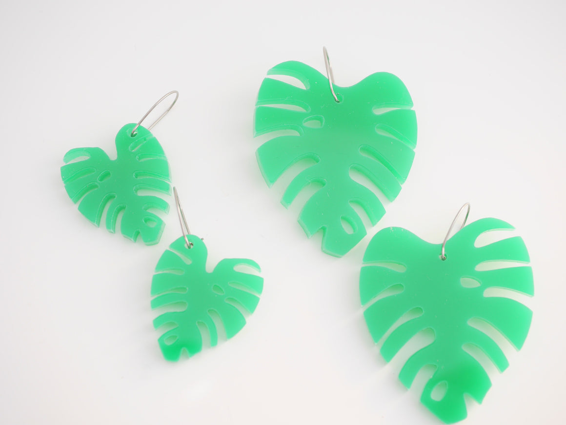 Mintcloud Earrings - Monstera Leave Dangles