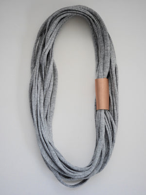 Mintcloud Necklaces - Longline with Leather Details Greys