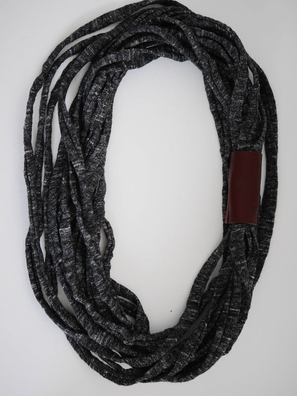 Mintcloud Necklace - Longline with Leather Detail Charcoal and Burgundy