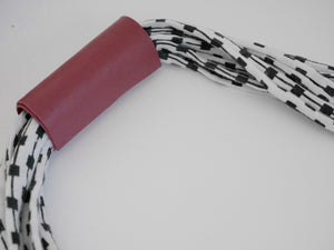Mintcloud Necklace - Short Black and White Squares with Muted Red
