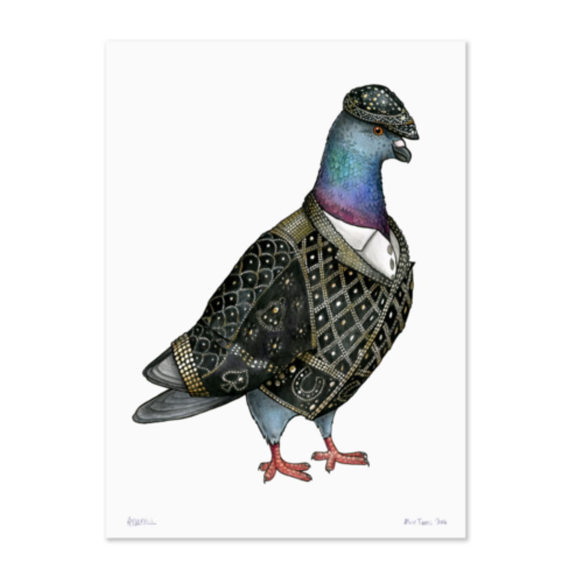 Birds In Hats Print - Pearly King Pigeon