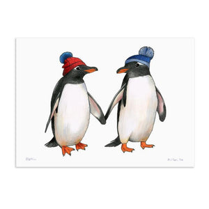 Birds In Hats Print - Gentoo Penguins in Bobble Hats A4 from have you met charlie a gift shop with Australian unique handmade gifts in Adelaide South Australia