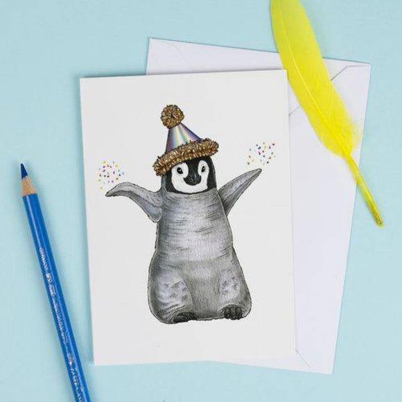 Birds In Hats Greeting Card - Penguin Chick in a Party Hat from have you met charlie a gift shop with Australian unique handmade gifts in Adelaide South Australia