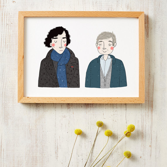 sherlock and watson art print by viktorija illustration from have you met charlie a gift shop with unique handmade australian gifts in adelaide south australia