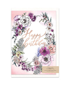 happy birthday card with gold foil and wild flower bouquet illustration from unique gift shop have you met charlie in adelaide south australia