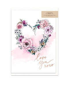 Gorgeous greeting card with burgundy floral heart illustration and rose gold finish from unique gift shop have you met charlie in adelaide south australia