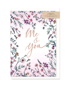 Gorgeous greeting card with wild flower illustration and rose gold foil finish from unique gift shop have you met charlie in adelaide south australia