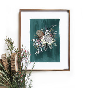 teal bouquet art print by typoflora from have you met charlie a gift shop with Australian unique handmade gifts in Adelaide South Australia