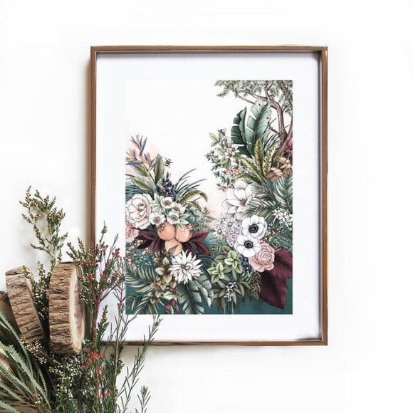 Typoflora A4 Art Print - Enchanted Garden 1 from have you met charlie a gift shop in Adelaide south Australian with unique handmade gifts