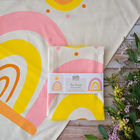 Earth Greetings Tea Towel - Natalie Jade rainbows from have you met charlie a gift shop with Australian unique handmade gifts in Adelaide South Australia