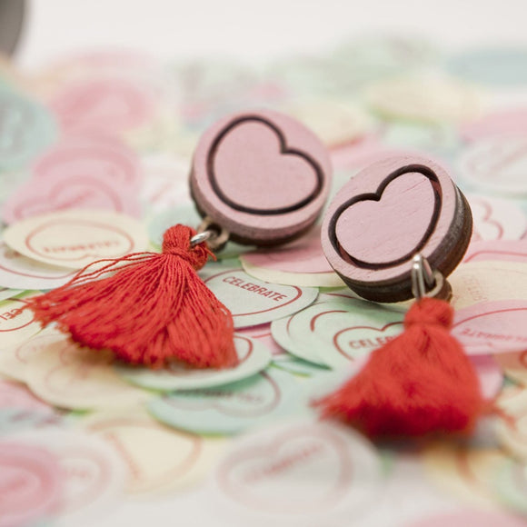 candy heart style dangle earrings with red tassel and pink stud from unique australian gift shop have you met charlie in adelaide south australia