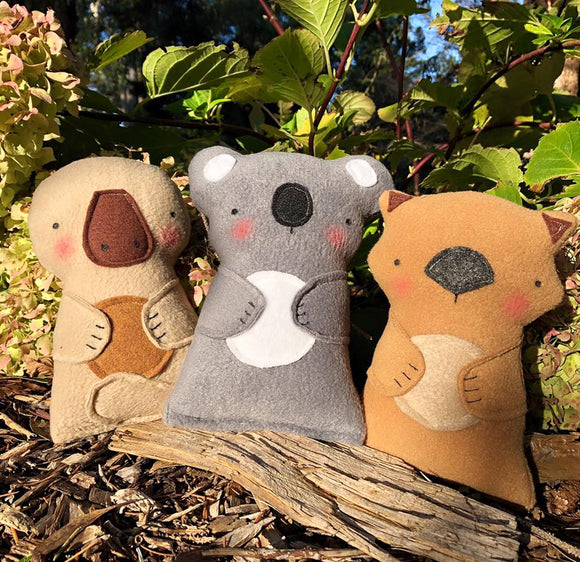 wombat platypus koala plush toys by fleeci from have you met charlie a gift shop with Australian unique handmade gifts in Adelaide South Australia