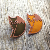 orange green fox Amar and Riley cute enamel animal pins from have you met charlie a gift shop with australian unique hand made gifts in adelaide south australia