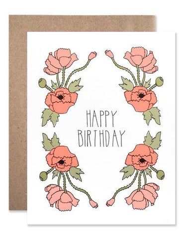Hartland Brooklyn Card - Happy Birthday Neon Red Poppies