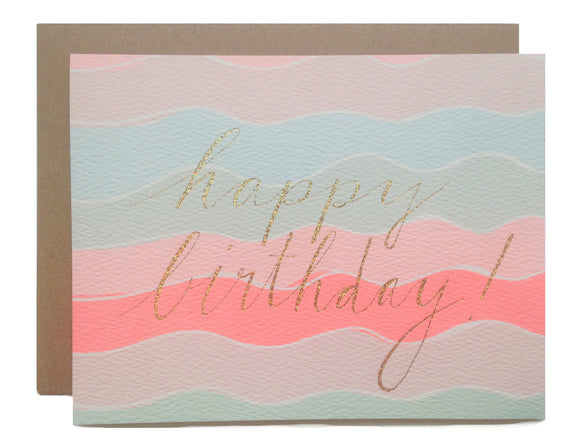 Hartland Brooklyn Card - Happy Birthday Squiggles with Gold Glitter Foil