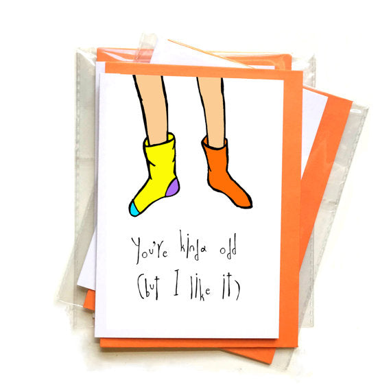 odd socks funny greeting card by orange forest from have you met charlie a gift shop with unique handmade australian gifts in adelaide south australia