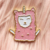 cute llama pink glitter enamel pin by miss minzy hand from have you met charlie a gift shop with unique handmade gifts in adelaide south australia