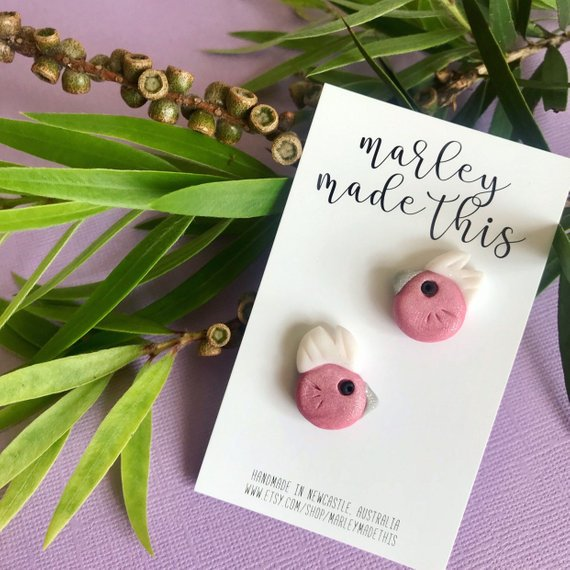 pink galah stud polymer clay earrings by marley made this from have you met charlie a gift shop with unique handmade australian gifts in adelaide south australia