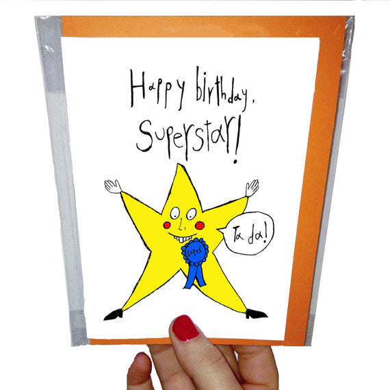 happy birthday superstar funny greeting card by orange forest from have you met charlie a gift shop with unique australian handmade gifts in adelaide south australia