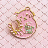 cute crazy cat lady pink glitter enamel pin by miss minzy hand from have you met charlie a gift shop with unique handmade gifts in adelaide south australia