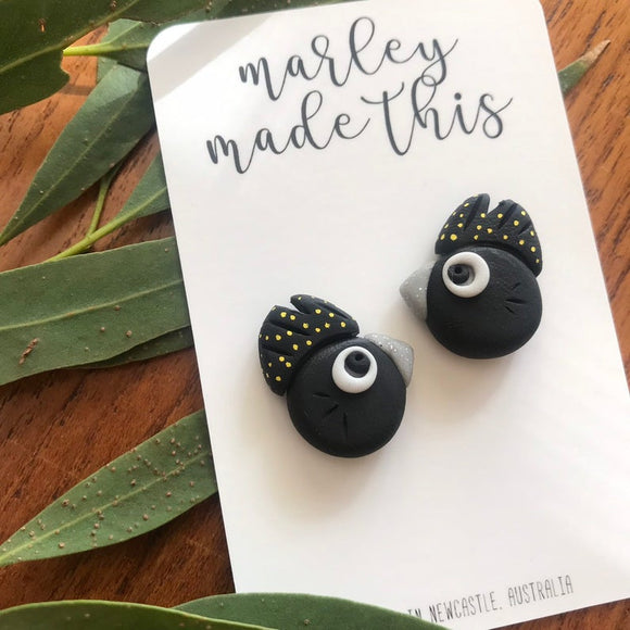 black cockatoo polymer clay earrings by marley made this from have you met charlie a gift shop with unique handmade australian gifts in adelaide south australia