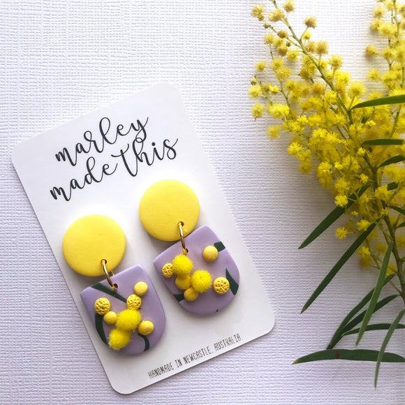 golden wattle purple polymer clay earrings by marley made this from have you met charlie a gift shop with unique handmade australian gifts in adelaide south australia