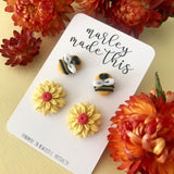 bee yellow flower stud pack polymer clay earrings by marley made this from have you met charlie a gift shop with unique handmade australian gifts in adelaide south australia