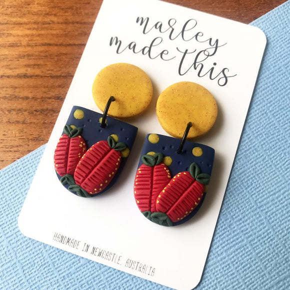 bottlebrush dangle polymer clay earrings by marley made this from have you met charlie a gift shop with unique handmade australian gifts in adelaide south australia