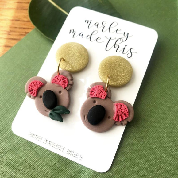 koala dangle polymer clay earrings by marley made this from have you met charlie a gift shop with unique handmade australian gifts in adelaide south australia