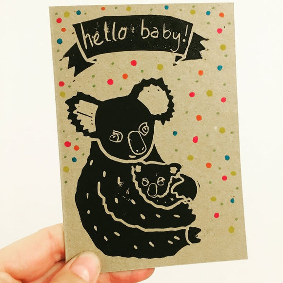 Baby greeting card with koala holding baby koala with colourful polkadots from australian gift shop have you met charlie in adelaide south australia