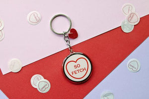 various candy heart style keyrings with popular culture quotes by for the love of vintage from have you met charlie a gift shop in adelaide selling australian handmade gifts