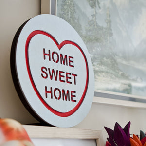 candy heart style wall hanging with text home sweet home in various colours  from australian gift shop have you met charlie in adelaide south australia