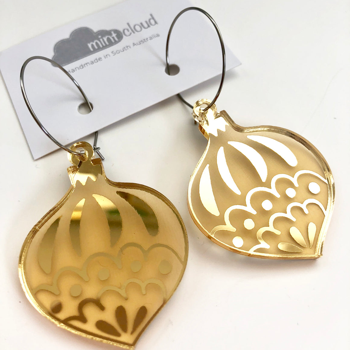 Mintcloud Christmas Traditional Bauble Earrings - Gold Mirror
