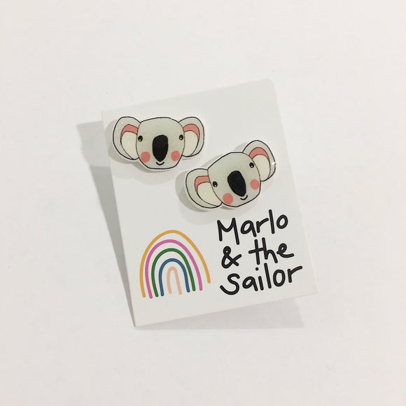 grey koala animal stud earrings by marlo & the sailor from have you met charlie a gift shop with unique handmade australian gifts in adelaide south australia