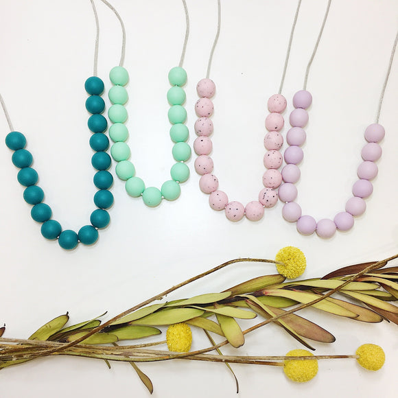 various gumball silicone necklaces by indi & frey from have you met charlie a gift shop with Australian unique handmade gifts in Adelaide South Australia