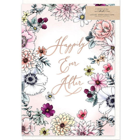 Gorgeous happily ever after wedding greeting card with floral illustrations and a rose gold foil finish from unique gift shop have you met charlie in adelaide south australia