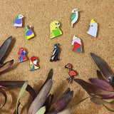 various bird enamel pins by patch press from have you met charlie a gift shop with Australian unique handmade gifts in Adelaide South Australia