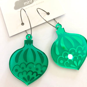 Mintcloud Christmas Traditional Bauble Earrings - Bright Green Mirror