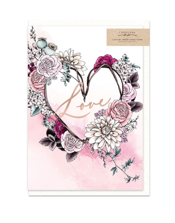 Gorgeous greeting card with floral illustration and rose gold foil finish from unique gift shop have you met charlie in adelaide south australia