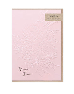 Gorgeous greeting card with floral illustration and rose gold foil finish much love text from unique gift shop have you met charlie in adelaide south australia