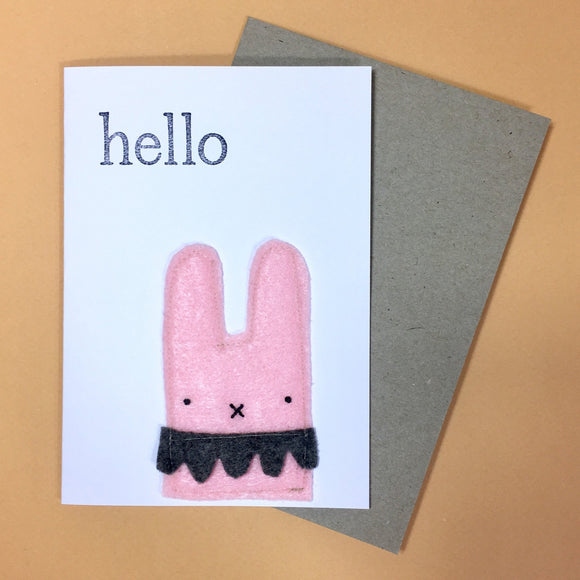pink bunny felt card by fleeci from have you met charlie a gift shop with Australian unique handmade gifts in Adelaide South Australia