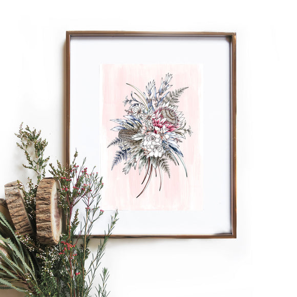 pink natives art print by typoflora hand drawn illustrated available from have you met charlie a unique gift shop in adelaide south australia