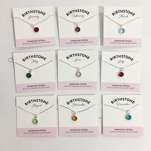 Bec Platt Designs Birth Stone Necklaces - Silver Various