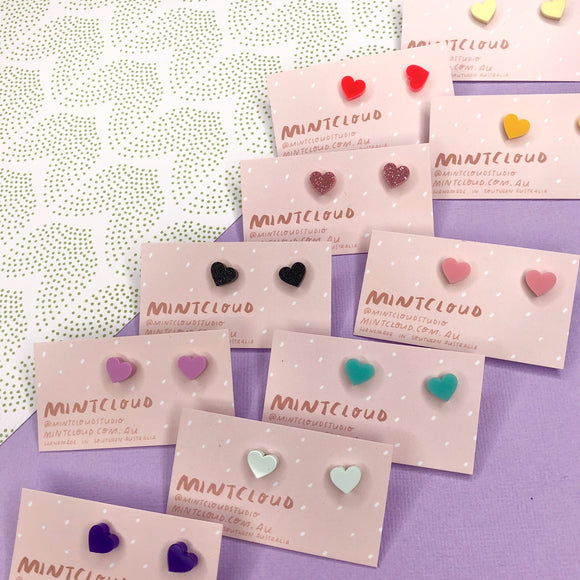 Mintcloud Earrings - Hearts in Various colours from have you met charlie a gift shop with Australian unique handmade gifts in Adelaide South Australia