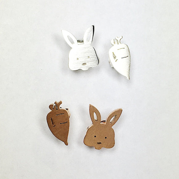 simple stainless steel studs in bunny and carrot design from unique gift shop have you met charlie in adelaide south australia